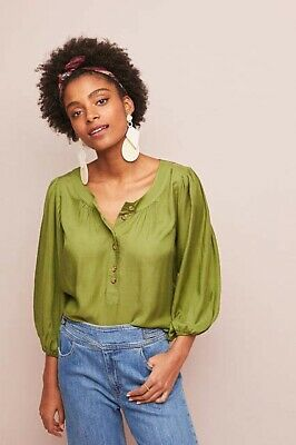 $ CDN46.38 • Buy Anthropologie Maeve Large Kalas Henley Blouse Green Popover Top 3/4 Sleeve $88