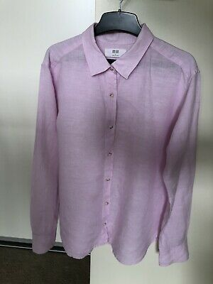 AU16 • Buy Uniqlo 100% Linen Outer Collared Shirt Womens SML Pink