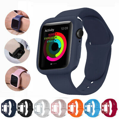 $ CDN5.23 • Buy For Apple Watch Series 5 4 3 2 Silicone Band Strap Bumper Case Cover 38/42/40/44
