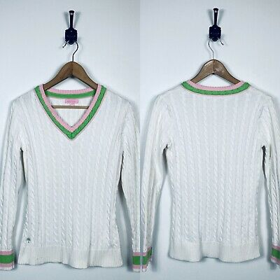 $9.99 • Buy Lilly Pulitzer Medium V-Neck Cable Knit Sweater FLAWED