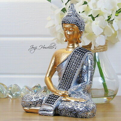 THAI BUDDHA Meditating Ornament Figure Statue Sculpture Figurine DIAMANTE • 11.90£