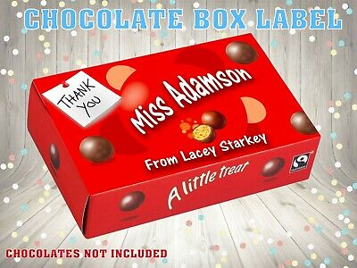 Personalised Thank You Teacher CHOCOLATE BOX LABEL NOVELTY GIFT End Of Year  • 2.99£