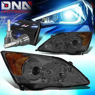 $209.98 • Buy For 2007-2011 Honda Crv Smoked Amber Side Projector Headlight W/led Kit+cool Fan