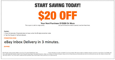 $2.49 • Buy One 1X Home Depot $20 Off $200 In-Store Only-1Coupon -Super-FAST-3MINS_