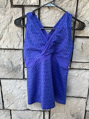 $ CDN51.51 • Buy Lululemon Size 10 Tank Top Built In Bra Purple Full Print Workout Top Lace Back