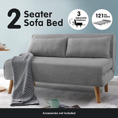 AU349 • Buy 2 Seater Sofa Bed Lounge Couch Modular Furniture Home Linen Fabric Dark Grey