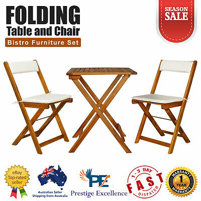 AU207 • Buy Chairs Table Bistro Set 3 Piece Folding Outdoor Patio Furniture Setting Cushions
