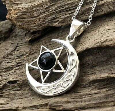 Sterling Silver & Whitby Jet Celtic Star & Moon Pendant & Chain • 52£