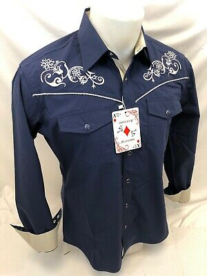$19.99 • Buy Men RODEO WESTERN COUNTRY BLUE WHITE STITCH TRIBAL SNAP UP Shirt Cowboy 04470