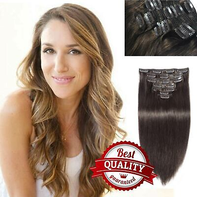 $27.99 • Buy Clip In 18 Clip 8piece Pretty Human Hair Extensions Keratin Beauty Unprocessed