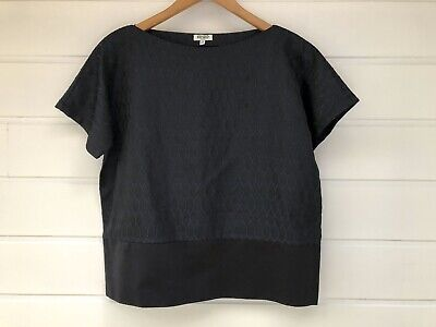 AU69.95 • Buy KENZO Paris Womens Black & Blue Short Sleeved Boxy Top - Size 34/AU 8