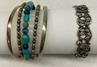 $ CDN39.42 • Buy Lot Of 2 925 Sterling Silver Cuff Bracelets CP Carolyn Pollack Beaded Floral