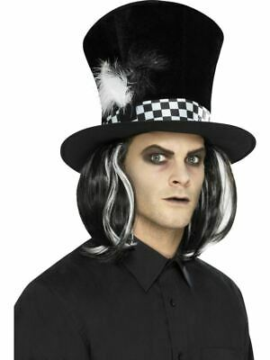 £9.79 • Buy Dark Mad Hatter Tea Party Top Hat With Hair Halloween Mens Fancy Dress Accessory