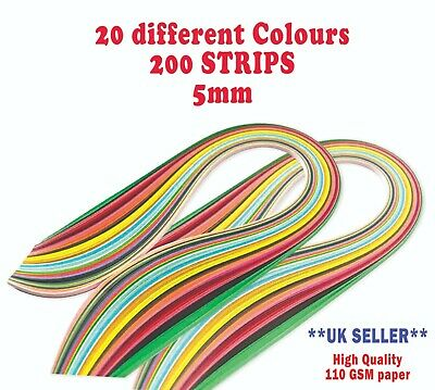 £2.95 • Buy 5mm DIY 200 Quilling Paper Strips Craft Quality DIY Home Decor Kit