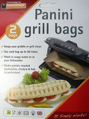 Reusable Panini Grill Griddle Bags Toasted Sandwich Toastie, Pack 2, Toastabags • 2.99£