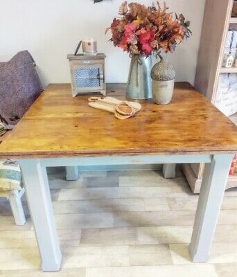 Shabby Chic Chunky Square Dining Table - Legs Painted Annie Sloan Paris Grey • 120£