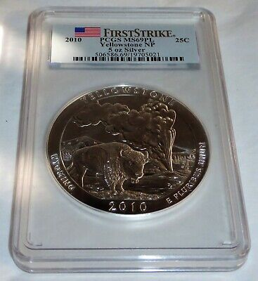 $ CDN468.83 • Buy 2010 Yellowstone NP 5 Oz Silver First Strike 25C PCGS MS69PL Coin Currency💎
