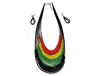 $12.89 • Buy Women Ladys Rasta Beaded Necklace And Set Earrings Necklace Earring Jewelry Set
