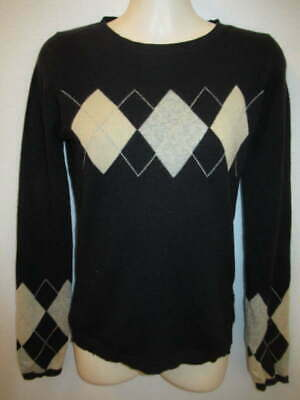 $12.55 • Buy 100% Cashmere Black Gray Beige Argyle Heart Crew Neck Sweater May Fit XS