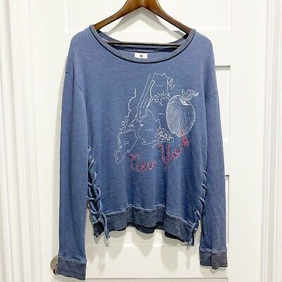 $ CDN34 • Buy NWT! Sundry Anthropologie Lace-up Pullover 5 Burroughs New York Size 2 Medium