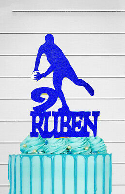 """£7 • Buy Personalised 8"""" Rugby Player Birthday Cake Topper Decoration Name & Age"""