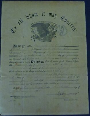 $165 • Buy 1865 Civil War Discharge: Private C. H. Clifford, Company D, 1st Vermont Cavalry