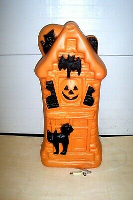 $99 • Buy Vintage 32.5  Halloween Lighted Blow Mold Haunted House Pumpkin/Cat/Bat/Witch
