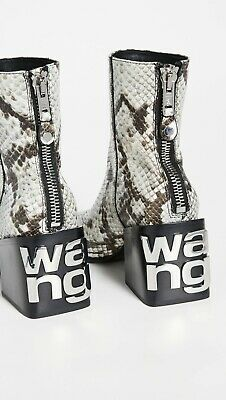 AU577.23 • Buy Alexander Wang Parker Logo Boots Ankle Booties 38 Block Heel Boot Snake