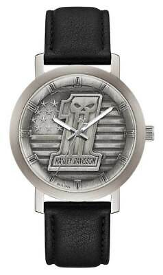 Harley-Davidson® Men's #1 Skull Stars & Stripes Watch W/ Leather Strap 76A163 • 158.88£