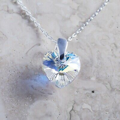 £9.99 • Buy 925 Sterling Silver Necklace Heart Crystal AB 10 Mm Crystals From Swarovski®