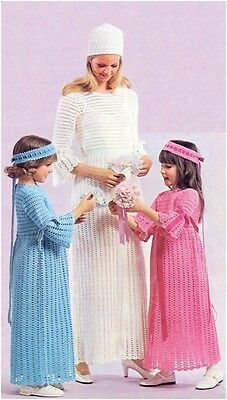 Brides Wedding Dress Headdrss Bridesmaids Dress Hdbnd 4Ply Crochet Pattern 10099 • 3.99£