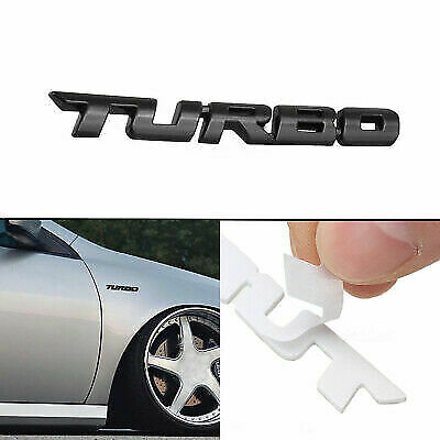 3D TURBO Black Metal Styling Badge Sticker Emblem Cars Boot Decal Vans SUV Bike • 3.69£