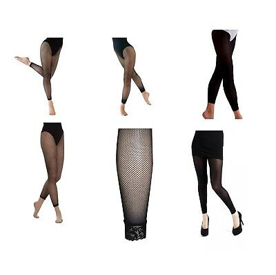 £4.50 • Buy Girls Womens Fishnet Dance Tights Footless Natural - Black Plain Or Lace Cuff