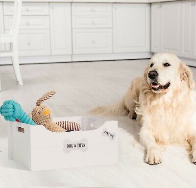 Bone Shaped Signs Dog Toys Storage Collection Box Wooden Crates Gift Hampers • 10.99£