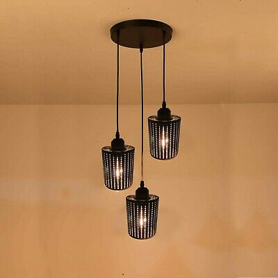 Modern 3Way Ceiling Pendant Cluster Light Fitting Pattern Cage Style Light Black • 38.55£