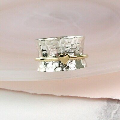925 Sterling Silver Spinning Ring With Brass Heart Thumb Fidget + Free Gift Bag • 25£