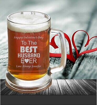 AU27 • Buy Valentine's Day Personalised Beer Stein 500ml Glass Mug Engraved Gift For Him