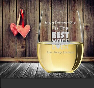 AU24 • Buy Valentine's Day Personalised Stemless Wine Glass 500ml Engraved Gift For Her