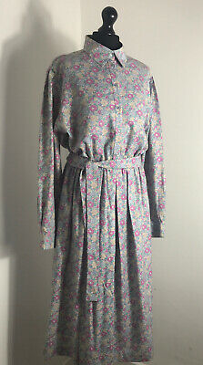 Vintage Liberty Of London Shirt Dress Size 18 Late 80s 90s Power Puff Sleeves • 79£