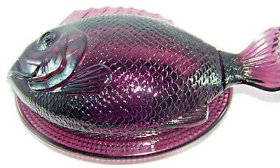 $55 • Buy L.E. Smith Glass Vintage Purple Fish On A Nest