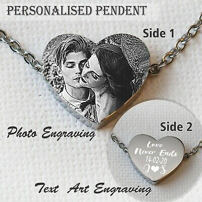 Personalised Photo Text Engraved Heart  Pendent With Chain Mum Valentine Gift  • 16.99£