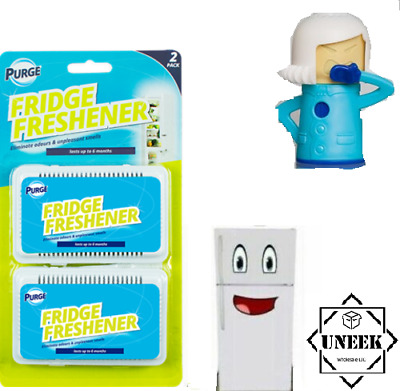 2 FRIDGE FRESHENER Deodoriser Kitchen Air Remove Smell Eliminate Odour GM0497 UK • 3.61£