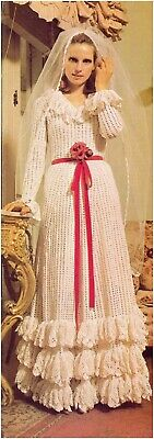 Ladies' 3 Ply Wedding Dress Crochet Pattern 10198 • 3.50£