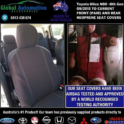 AU579.95 • Buy Fits Toyota HiLux N80 Front And Rear Neoprene Seat Covers Workmate, SR, SR5 N80