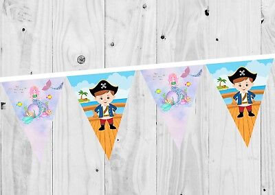 £0.99 • Buy Mermaid And Pirate Birthday Banner, Bunting, Decoration, Party