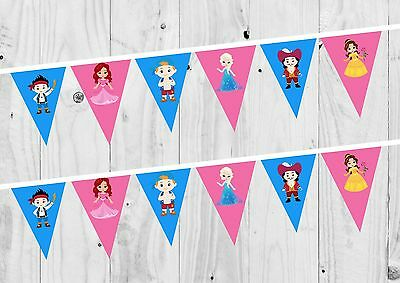 £0.99 • Buy Princess And Pirate Birthday Banner, Bunting, Decoration, Party