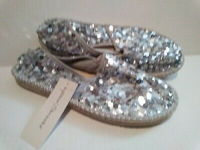 $8.99 • Buy Silver Sequin Flats, Slip On Shoes, With Comfort Foam Bottom Size 8 NWT