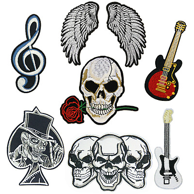 £1.99 • Buy Embroidered Skull Guitar Angel Iron-on Sew-on Fabric Applique Patch Badge UK