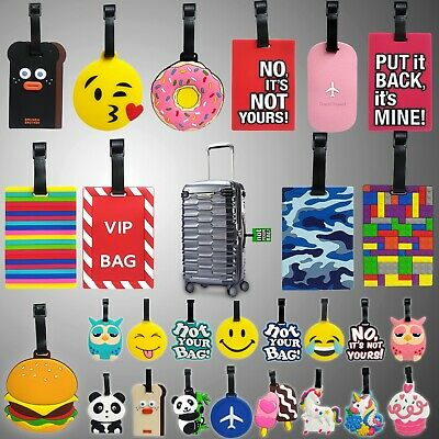 £3.52 • Buy Silicon Luggage Baggage Tags Label Suitcase Travel Name Address Id Cartoon Funny