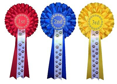 £4.99 • Buy 1st - 3rd Place 2 Tier Rosettes Agility Obedience Companion Fun Open Dog Show